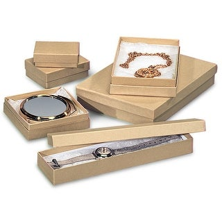 Pack Of 72, Assortment Natural Brown Kraft Jewelry Box 6 Sizes (12) #4, (18) #6, (12) #14, (12) #18, (6) #43 & (12) #75