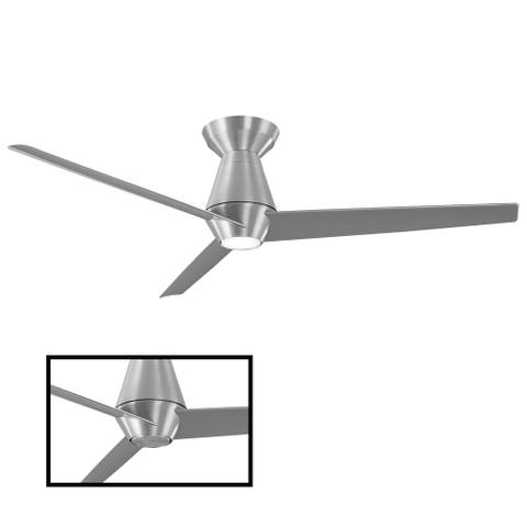 Slim Indoor and Outdoor 3-Blade Smart Flush Mount Ceiling Fan 52in with 3000K LED Light Kit and Remote Control