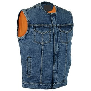 Concealed Snaps Without Collar Denim Motorcycle Vest