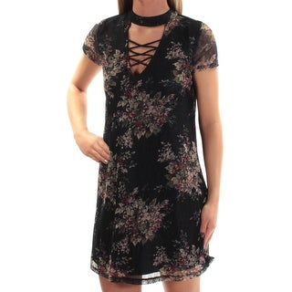 Womens Navy Floral Short Sleeve Above The Knee Shift Dress Size: XS
