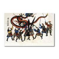 Chinese Dragon Dance - Japanese Wood-Cut (Acrylic Wall Clock) - acrylic wall clock