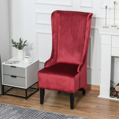 HOMCOM Retro Armless Velvet Upholstered Dining Chair with Curved Backrest and Birch Legs, High Back Leisure Chair