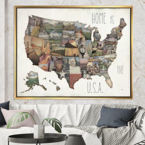 Designart 'InstaStates Monuments Map' Map Framed Canvas - Brown
