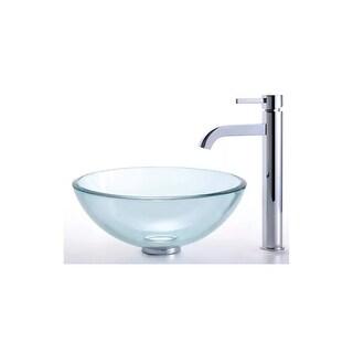 "Kraus C-GV-101-14-12mm-1007 Bathroom Combo - 14"" Clear Glass Vessel Bathroom Sin"