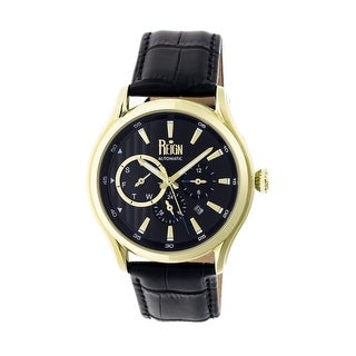 Reign Gustaf Men's Automatic Watch, Genuine Leather Band, Sapphire-Coated Crystal, Luminous Hands
