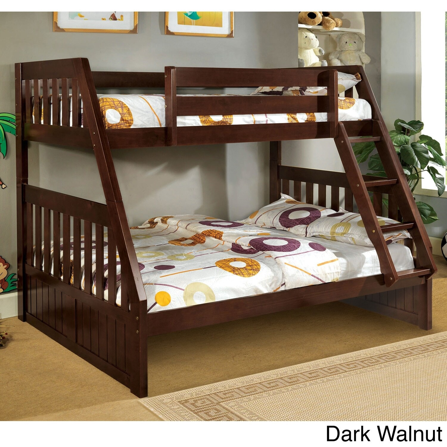 Picture of: Furniture Of America Kerc Mission Twin Over Full Solid Wood Bunk Bed Overstock 9183956 Dark Walnut