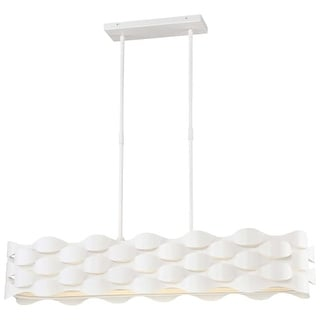 "Kovacs P1306-655-L Coastal Current Single Light 38-3/4"" Wide Integrated LED Linear Chandelier with a Linen Fabric Shade"