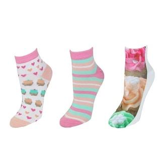 Ecko Cupcake Sweets Print Low Cut Socks Pack of 3 Pair - Multi - One Size