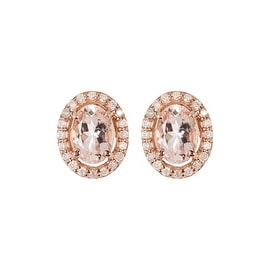 Genuine Diamond and Morganite Stud Earring