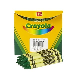 Crayola Non-Toxic Regular Single-Color Crayon Refill, 5/16 X 3-5/8 in, Green, Pack of 12