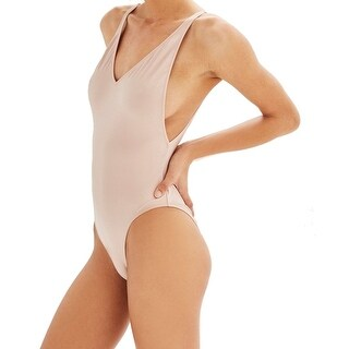 Topshop Nude Beige Womens Size 12 Plunge V-Neck One-Piece Swimsuit