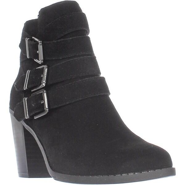 I35 Laini Multi Buckle Strap Block Heel Ankl Boots, Black
