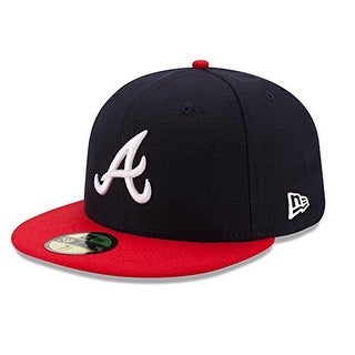 New Era Unisex Atlanta Braves Home 59Fifty Fitted Cap, Black/Red, 7