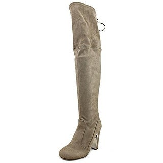 Material Girl Priyanka Women Round Toe Canvas Over the Knee Boot