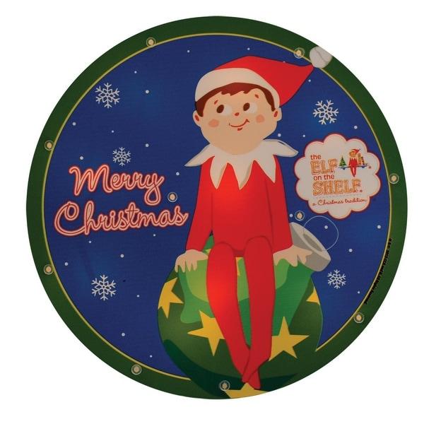 "9.5"" Pre-Lit Elf on the Shelf Round ""Merry Christmas"" Window Silhouette Decoration - BLue"