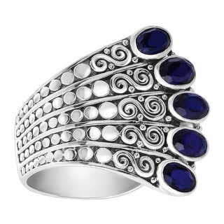 Sajen Natural Midnight Quartz Fan Ring in Sterling Silver - Blue