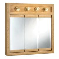 """Design House 530600 30"""" Framed Triple Door Mirrored Medicine Cabinet with 4-Lights from the Richland Collection"""