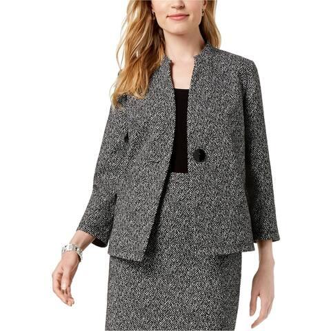 Kasper Womens Knit Jacquard Jacket, Black, 4
