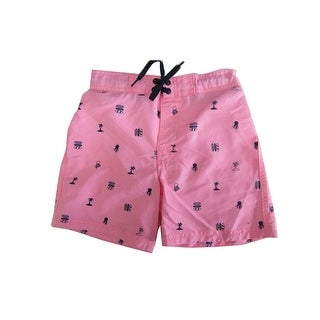 Jake Austin Boys Pink Surf Ocean Inspired Print Swimwear Shorts