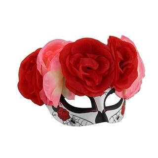 Spider Web DOD Sugar Skull Mask w/Pink and Red Floral Headdress