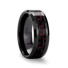 ANTONIUS Beveled Black Ceramic Ring with Black & Red Carbon Fiber 8mm