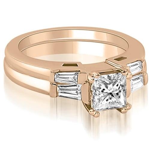 0.80 cttw. 14K Rose Gold Princess Baguette Cut Three Stone Diamond Bridal Set