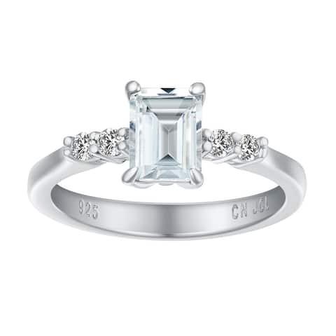 Emerald-Cut Genuine Gemstone Birthstone Ring, Sterling Silver