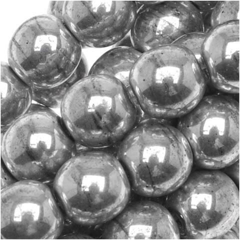 Czech Glass Druk Round Beads 6mm Metallic Silver (50)