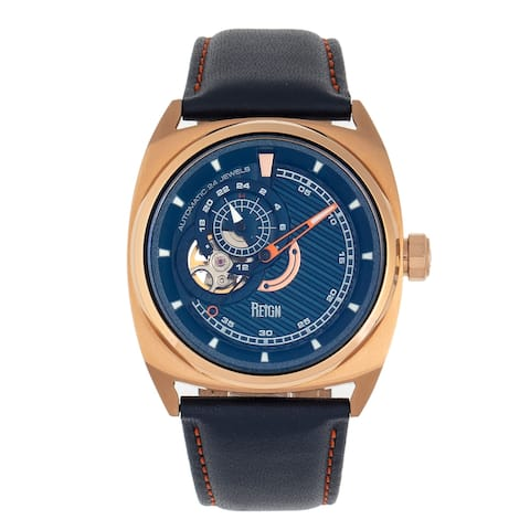 Reign Astro Semi-Skeleton Leather-Band Watch - Rose Gold/Navy