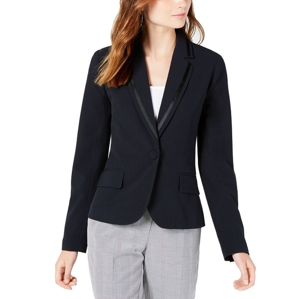 XOXO Womens Blazer Jacket Jet Grosgrain Trimmed Button