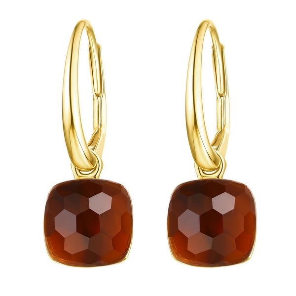 Vedantti Mini Honeycomb Cut Mandarin Garnet Gemstone Magical Leverback Earring