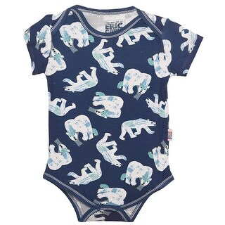 Baby Girls Blue White Polar Bear Print Snap Closure Short Sleeve Bodysuit