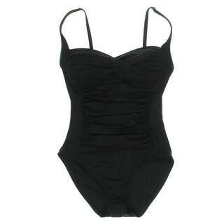 La Blanca Womens Bandeau Shirred One-Piece Swimsuit