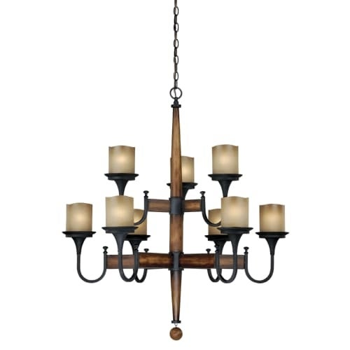 Vaxcel Lighting H0027 Meritage 9 Light Two Tier Chandelier With Frosted Gl Shades 35 Inches