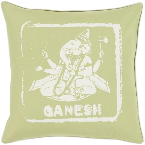 "20"" Green and White Ganesh Big Kid Blocks Decorative Throw Pillow"