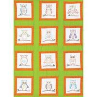 "Owls - Themed Stamped White Quilt Blocks 9""X9"" 12/Pkg"