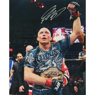 Georges St. Pierre Signed UFC MMA Wearing Championship Belt 16x20 Photo