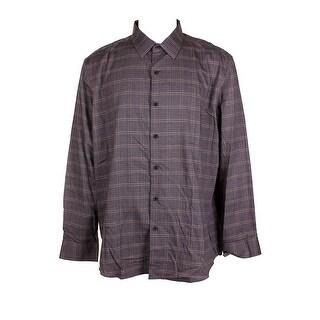 Tasso Elba Mens Charcoal Grey Gold Plaid Collard Long Sleeve Button Down Shirt - XxL