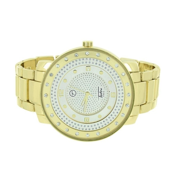 Mens Techno Pave Gold Tone Watch Simulated Diamonds Stainless Steel Back Round