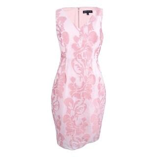 Jax Women's Sleeveless V-Neck Jacquard Sheath Dress - ivory/blossom