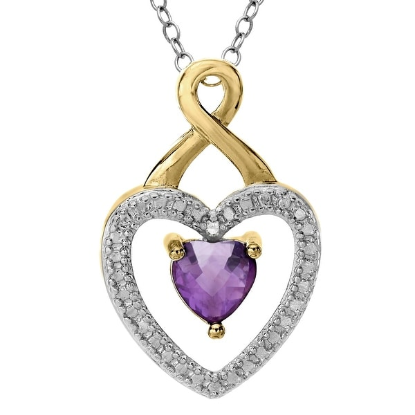 Amethyst Heart Pendant with Diamond in 18K Gold-Plated Brass