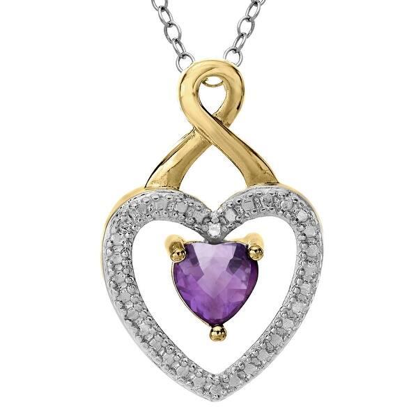 28e6edaa88f23 Amethyst Heart Pendant with Diamond in 18K Gold-Plated Brass - Purple