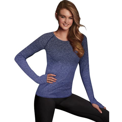 Maidenform Baselayer Thermal Crew - Color - Navy Ombre Heather - Size - 2XL