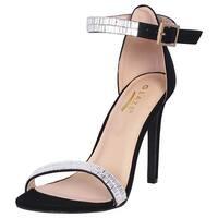 Glaze Women's Stiletto Jewel Plated High Heel Ankle Strap Dress Sandals - Open Toe Strappy Heels