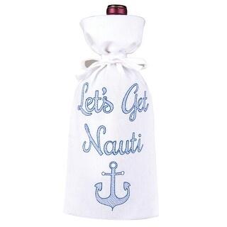 Nautical Lets Get Nauti Drawstring Wine Bottle Gift Bag