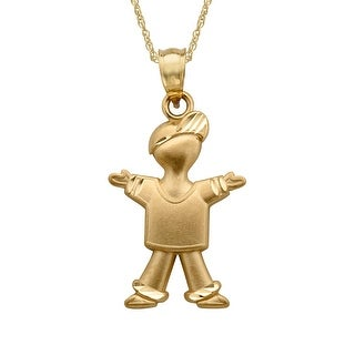 Just Gold Boy Pendant in 14K Gold - YELLOW