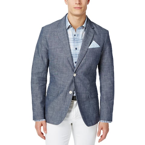 Tasso Elba Mens Chambray Blazer Medium Blue
