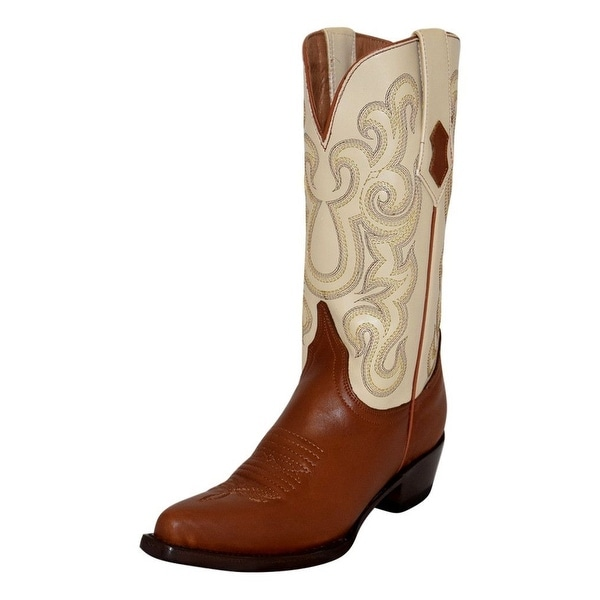 Ferrini Western Boots Women Snip Stitching Pull Straps Cognac