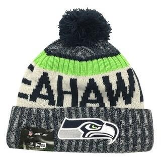 New Era Seattle Seahawks Knit Beanie Cap Hat NFL 2017 On Field Sideline 11460380