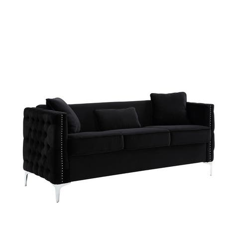 Bayberry Contemporary Velvet Fabric Sofa Couch with 3 Pillows